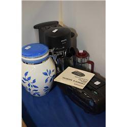 Citizen alarm clock, pottery canister, Krups coffee maker etc.