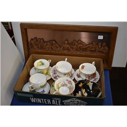 Six china cups and saucers including Royal Albert, Paragon etc. and a bas relief Coppercraft Last Su