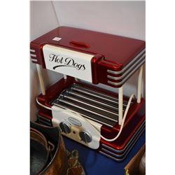 Nostalgia hot dog cooker with bun warmer