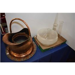 Selection of copper including coal bucket, tray plus lamp chimneys and shade