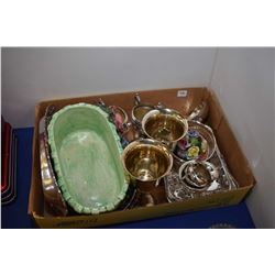 Selection of collectibles including silver-plate goblets, shaker and serving pieces, porcelain flora