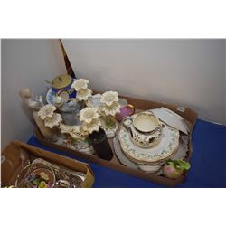 Large selection of porcelain and ceramic collectibles including candlesticks, figures, plates etc.