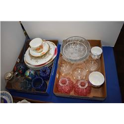 Two trays of collectibles including etched stemware, cruets, plates, glass plant watering orb etc.