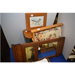 Selection of household items including pictorial wall mirror, primitive stool, framed needlework of
