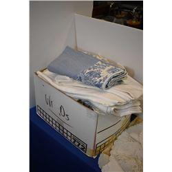 Box lot of textiles including damask tablecloths, napkins etc.