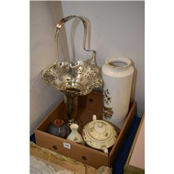 Selection of collectibles including silver-plate basket, semi porcelain lidded sugar, peacock motif