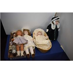 Selection of collector dolls including four porcelain, baby dolls, one in winter dress, Italian Furg