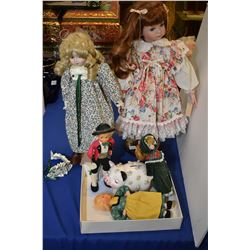 Selection of collector dolls including Jack and Jill, and a piggy bank etc.