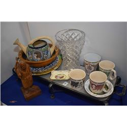 Selection of collectibles including a pewter and aluminium serving tray, Royalty ware including Quee