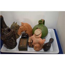 Tray lot of artisan made pottery collectibles including horse heads, jugs, bird, lidded boxes etc.