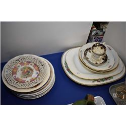 Large selection of porcelain and semi porcelain plates, bowls and platters including Coalport Indian
