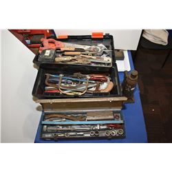Two tool boxes with contents including saws, wrenches, sockets etc. and a bottle jack