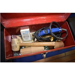 Tool box containing carpet sealing iron and accessories