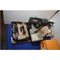 Selection of tool including Delta disc and belt sander, Pneumatic and electric staple guns