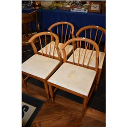 Set of four matching birch framed dining chairs with spindle backs and upholstered seats