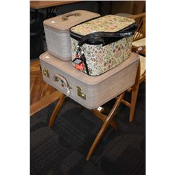 Vintage luggage made by McBrine, luggage stand etc.