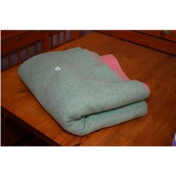 Canadian made H.B (Hudson's Bay ?) wool blanket, one side pink and one side green with satin edging