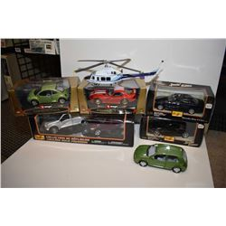 Four new in box die cast including Amisto trucks Vurago Viper etc. plus an unboxed Bell helicopter a