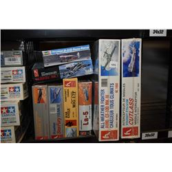 Eight unassembled airplane model kits including P-51D Reno Racer, Vampire Mk.I, Mig -17F, Avro CF-10