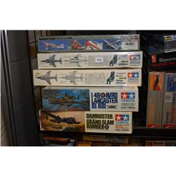 Eight unassembled model airplane kits including Avro Lancaster, Dambuster Lancaster, Royal Navy Sea