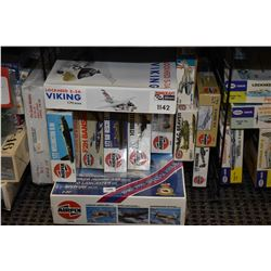 Eleven unassembled aircraft model kits including Lockheed Viking, Douglass Invader, F2H Banshee, DHC
