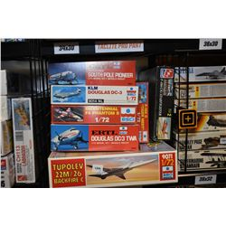 Seven unassembled aircraft model kits including F 104 Starfighter, Douglas DC-3, Tupolev 22M/26 Back