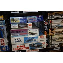 Seven unassembled aircraft model kits including B17 Flying Fortress, Vickers Wellington Mk. II, Curt