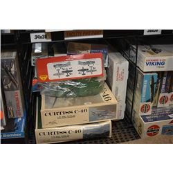 Eleven unassembled aircraft model kits including Curtiss C-46, Bristol Sycamore HR14 etc.