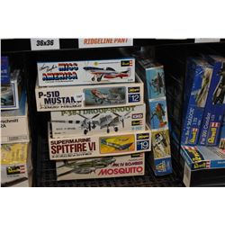 Seven unassembled aircraft model kits including P-51 Mustang Racer, Super Marine Spitfire VI, Mk IV