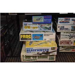 Five unassembled aircraft model kits including F-86F-40 Sabre, Messerschmitt ME.262A, MacDonnell XV-
