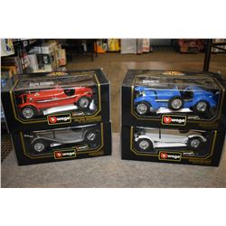 Four new in box Vurango 1: 18 scale die cast cars including Alpha Romeo, Jaguar etc.