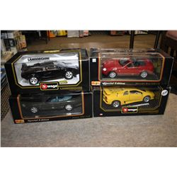 Four Maisto new in box die cast including Lamborgini Countach, Jaguar XK 8 etc.