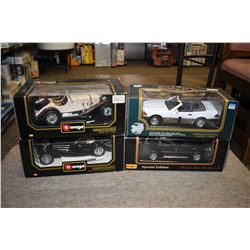 Four new in box die cast including Maisto and Vurago Mercedes cars