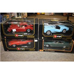 Four new in box Vurago 1:18 scale die cast including 1961 Porsche, 1961 Jaguar etc.