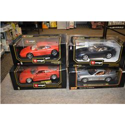 Four new in box Vurago die cast 1:18 scale Ferrari cars