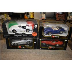Four 1:18th scale die cast cars including three Vuragos including 1954 Mercedes, 1961 Jaguar,1961 Po