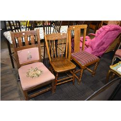 Three assorted antique side chairs including one mission style with needlepoint upholstery
