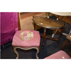Mid 20th century walnut D-table and painted French style vanity bench with needlepoint upholster