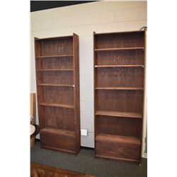 Two shop made shelving units with adjustable shelves