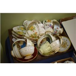 Large selection of china cups and saucers including Royal Albert tennis sets