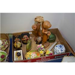 Art collectibles including art glass bird, porcelain florals, wooden carvings, Royal Copenhagen wood