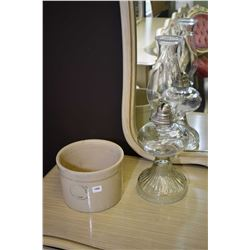 Small medalta potteries crock and a pressed glass colourless oil lamp