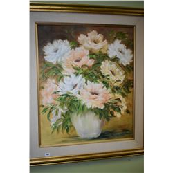 Framed oil on canvas still life signed by artist Marty Paton