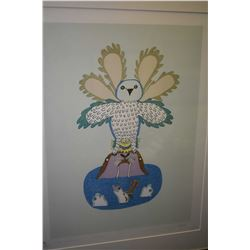 "Framed lithograph ""The Owl At Sea"" pencil signed Dorset 1982 Pitseolak 27/50"
