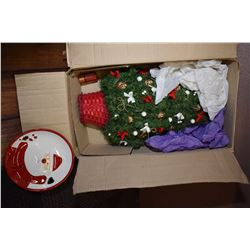 Two boxes of Christmas decorations