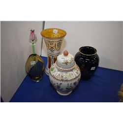 Selection of collectibles including cased milk glass cut to amber vase, lidded ginger jar, art glass