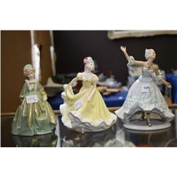 Three porcelain figurines including Royal Doulton Lanette, a German dancing lady and a Royal Worcest
