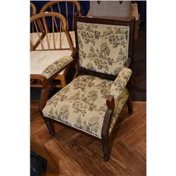 Antique tapestry upholstered open arm parlour chair
