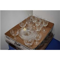 Two trays of assorted crystal stemware Two trays of assorted crystal stemware and plates including S