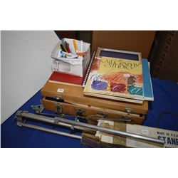 Easel and art supplies Selection of art supplies including artists easel, sketch book, art parper, w